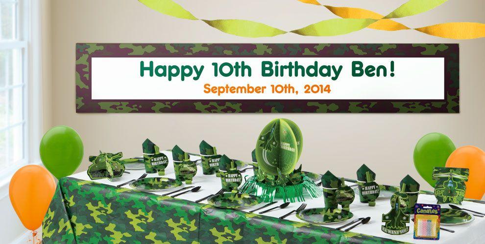 Custom Camouflage Birthday Banners