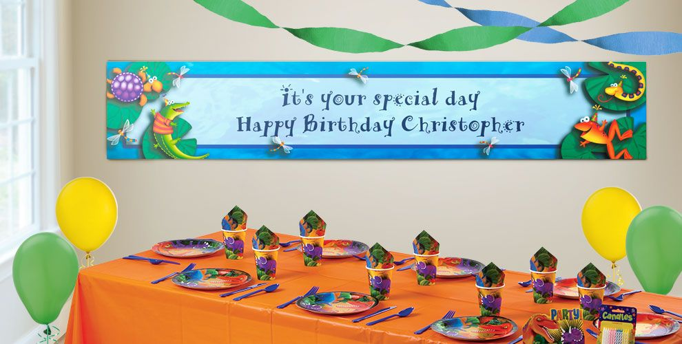 Custom Bugs and Reptiles Birthday Banners
