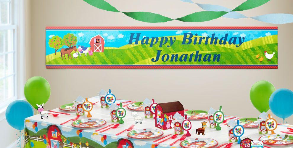 Custom Barnyard Birthday Banners