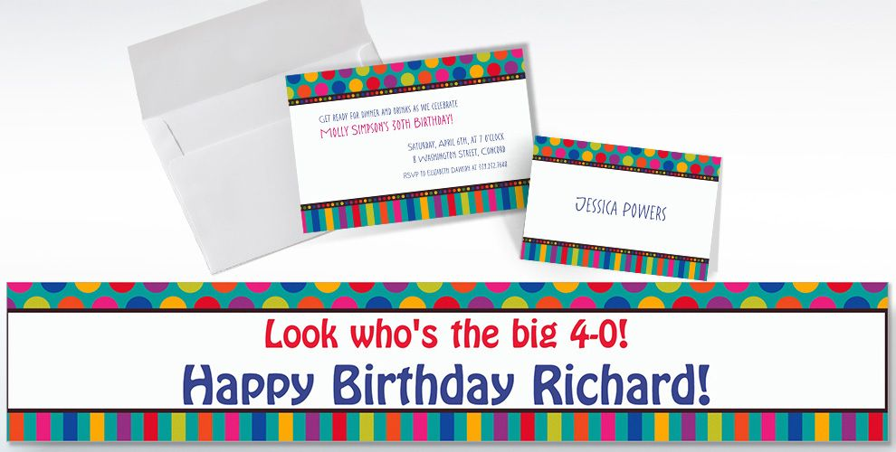 Custom Birthday Dots and Stripes Invitations and Thank You Notes