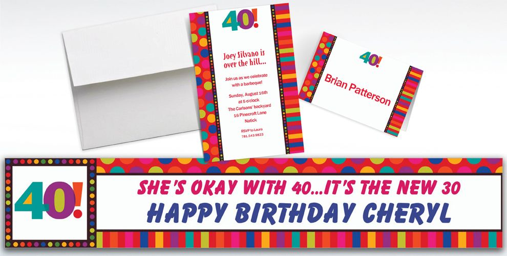 Custom Birthday Dots and Stripes 40th Birthday Invitations