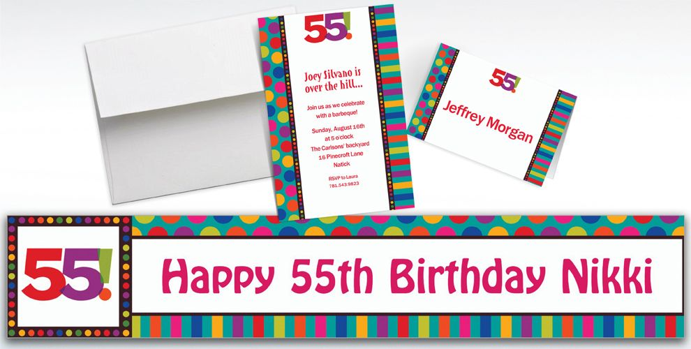 Custom Birthday Dots and Stripes 55th Invitations