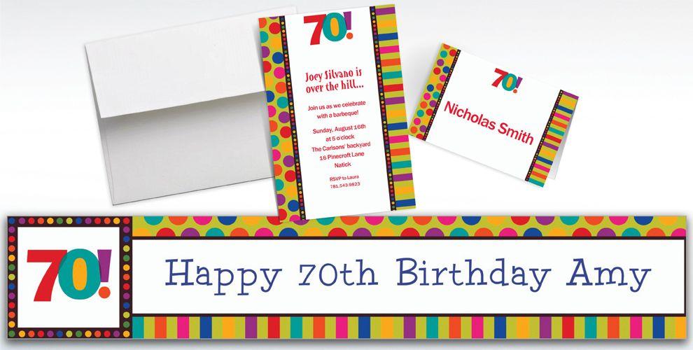 Custom Birthday Dots and Stripes 70th Invitations