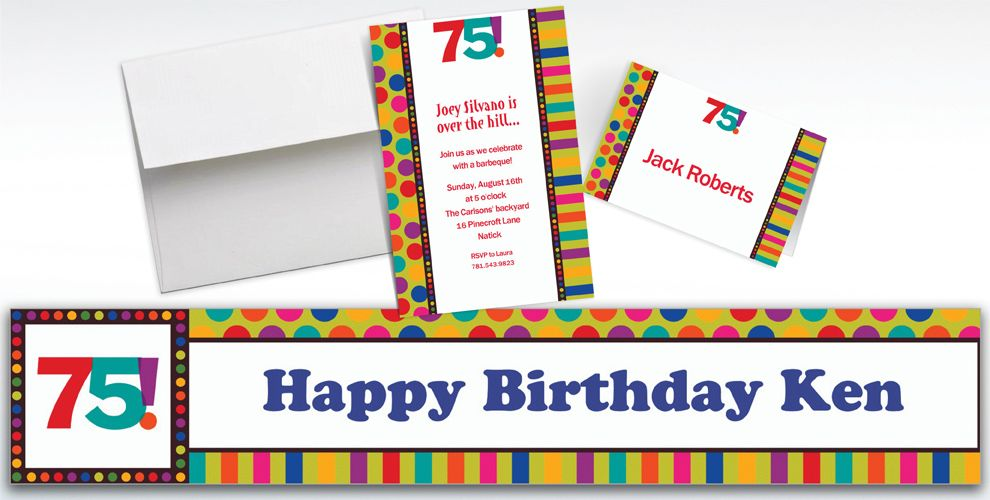 Custom Birthday Dots and Stripes 75th Invitations