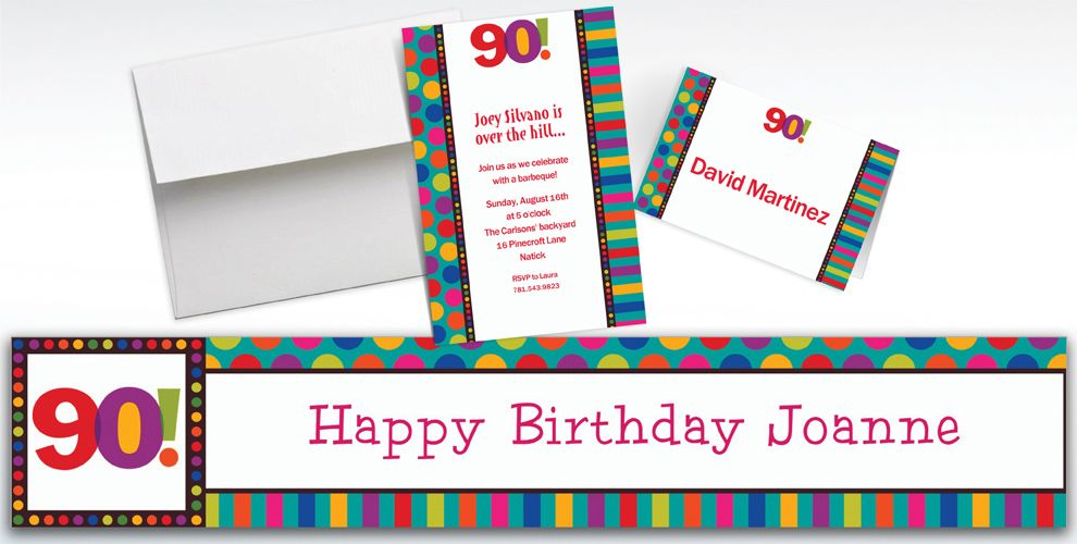 Custom Birthday Dots and Stripes 90th Invitations