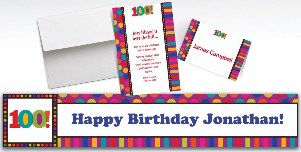 Custom Birthday Dots and Stripes 100th Birthday Invitations