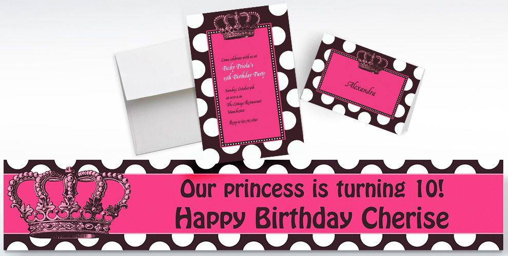 Custom Rocker Princess Invitations, Thank You Notes and Banners