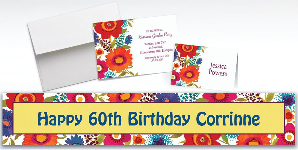 Custom Floral Splash Invitations and Thank You Notes