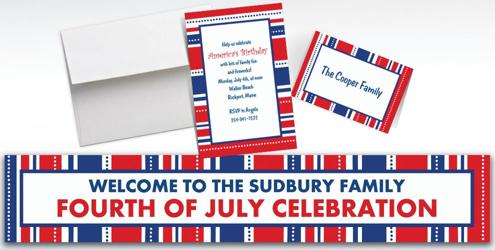 Custom American Summer Stripes Invitations and Thank You Notes