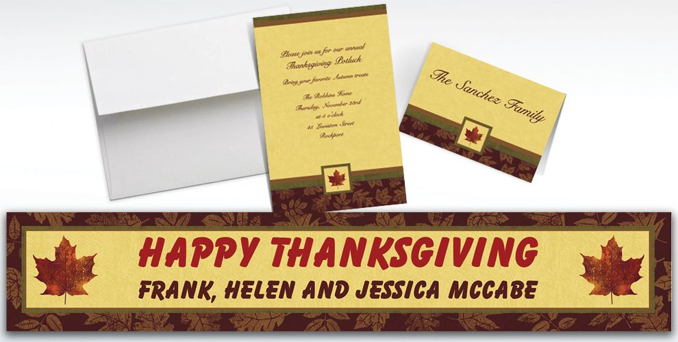 Custom Fall Elegance Invitations and Thank You Notes