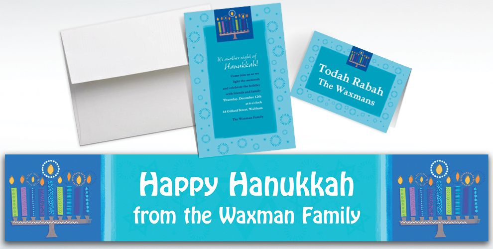 Custom Hanukkah Wishes Invitations and Thank You Notes