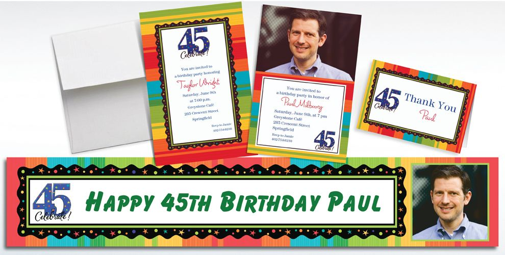 Custom 45th Birthday Invitations and Thank You Notes