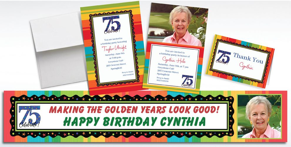 Custom 75th Birthday Invitations and Thank You Notes