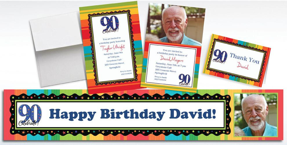 Custom 90th Birthday Invitations and Thank You Notes