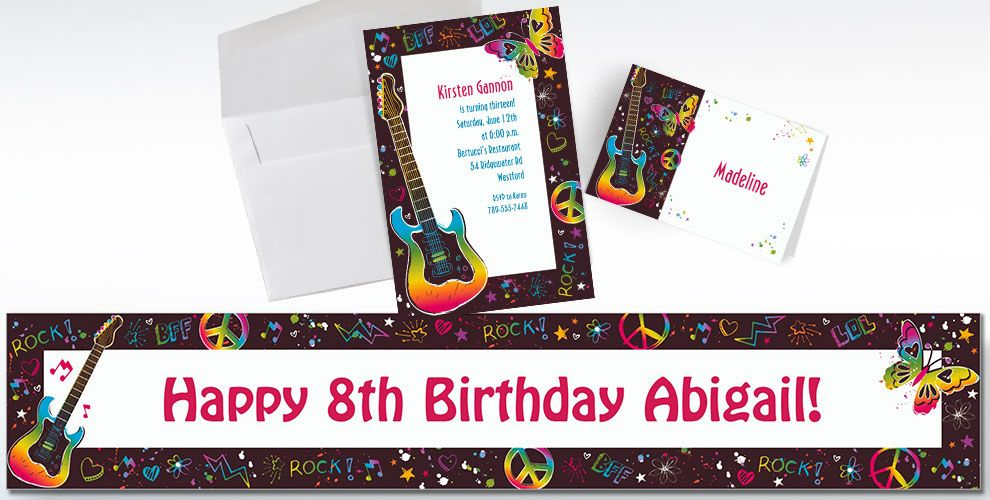 Custom Neon Birthday Invitations and Thank You Notes