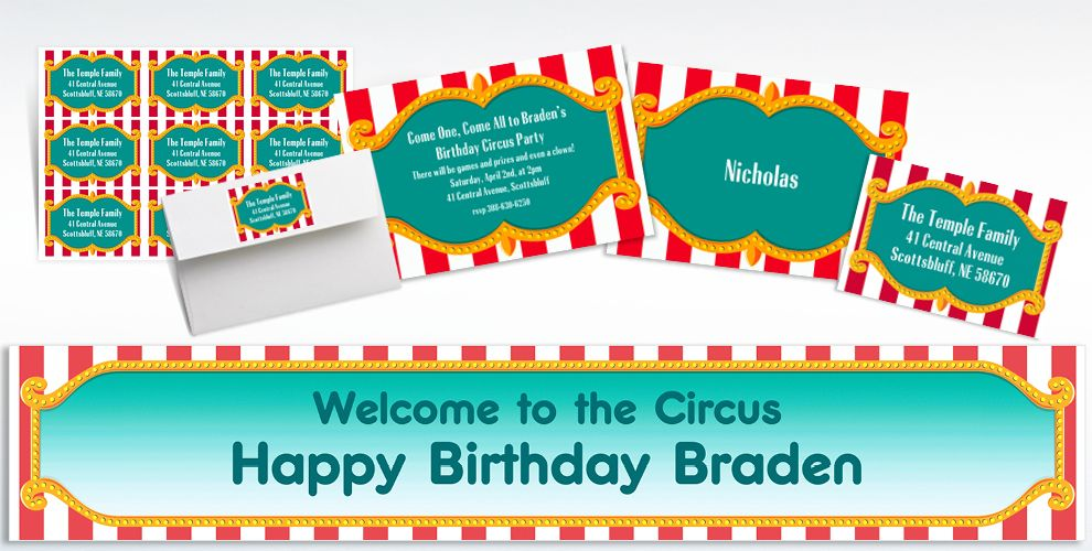 Custom Big Top Invitations, Thank You Notes and Banners