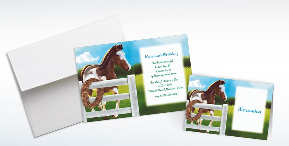 Custom Giddy Up Invitations and Thank You Notes