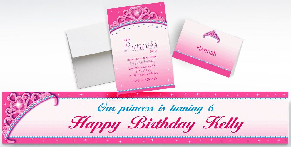 Custom Princess for a Day Invitations, Thank You Notes and Banners