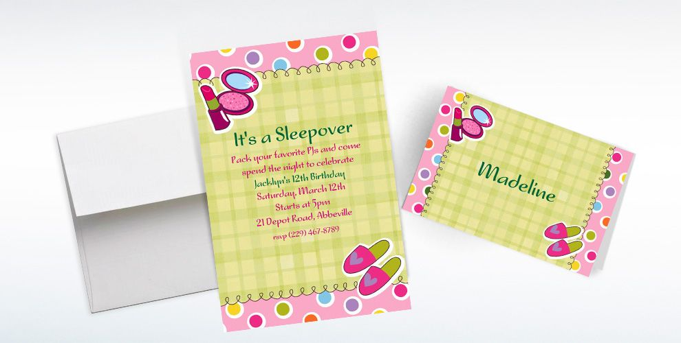 Custom Sleepover Party Invitations and Thank You Notes
