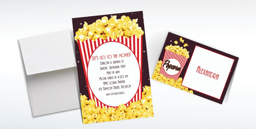 Custom Movie Night Popcorn Invitations and Thank You Notes
