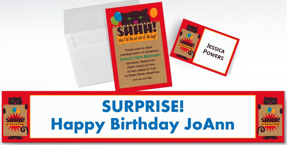 Custom It's a Surprise Invitations and Thank You Notes