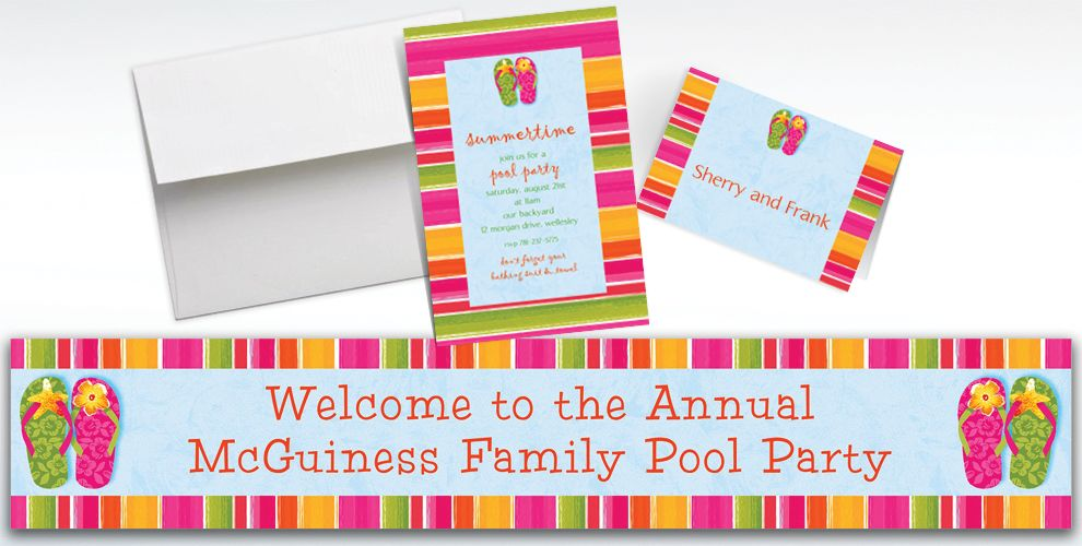 Custom Flip Out Summer Invitations and Thank You Notes
