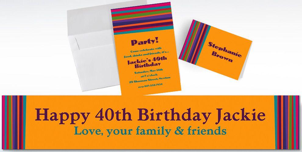 Custom Birthday Stripe Invitations and Thank You Notes