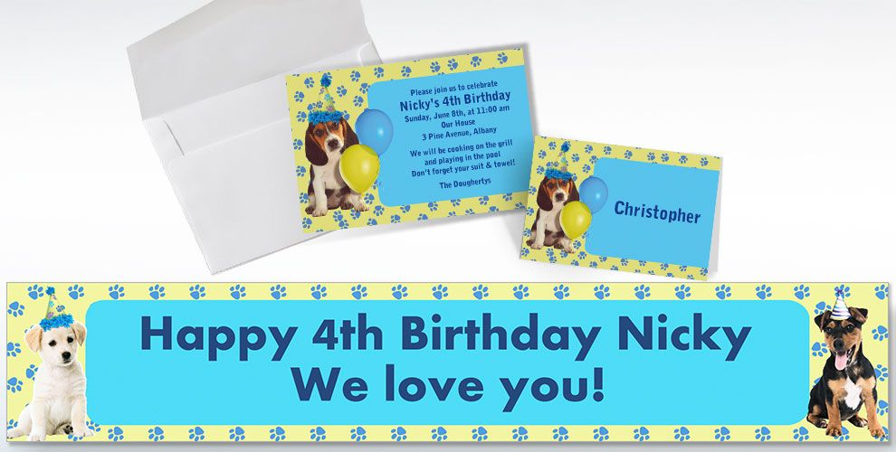 Custom Party Pups Invitations and Thank You Notes