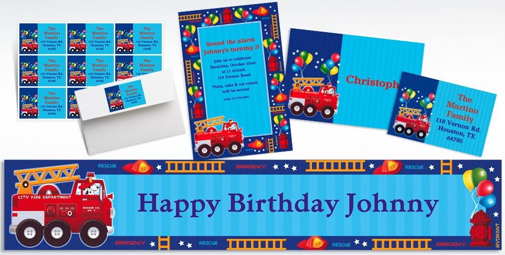 Custom Fire Engine Invitations and Thank You Notes