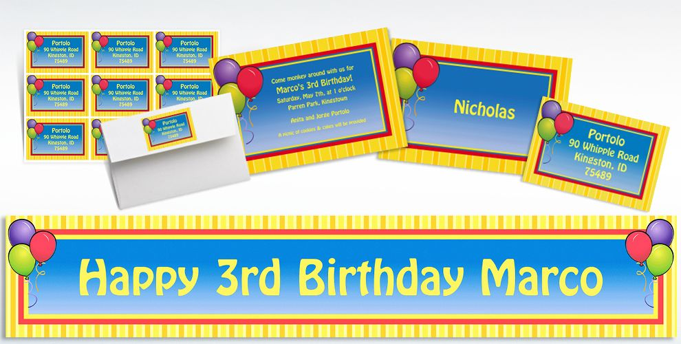 Custom Balloons and Stripes Birthday Invitations and Thank You Notes