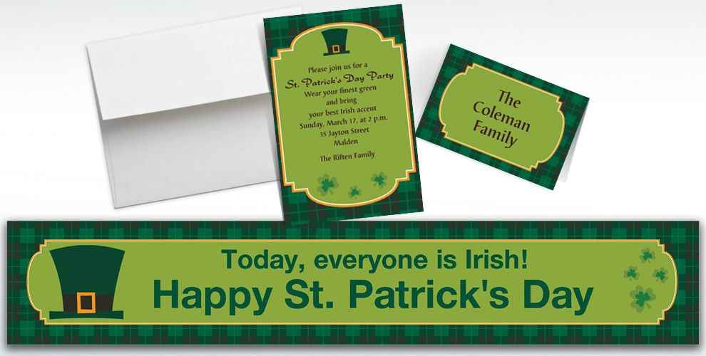 Custom St. Paddy's Day Plaid Invitations and Thank You Notes