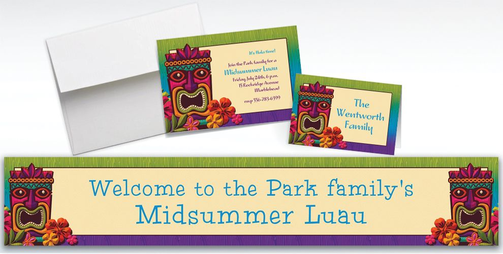 Custom Tropical Tiki Invitations and Thank You Notes
