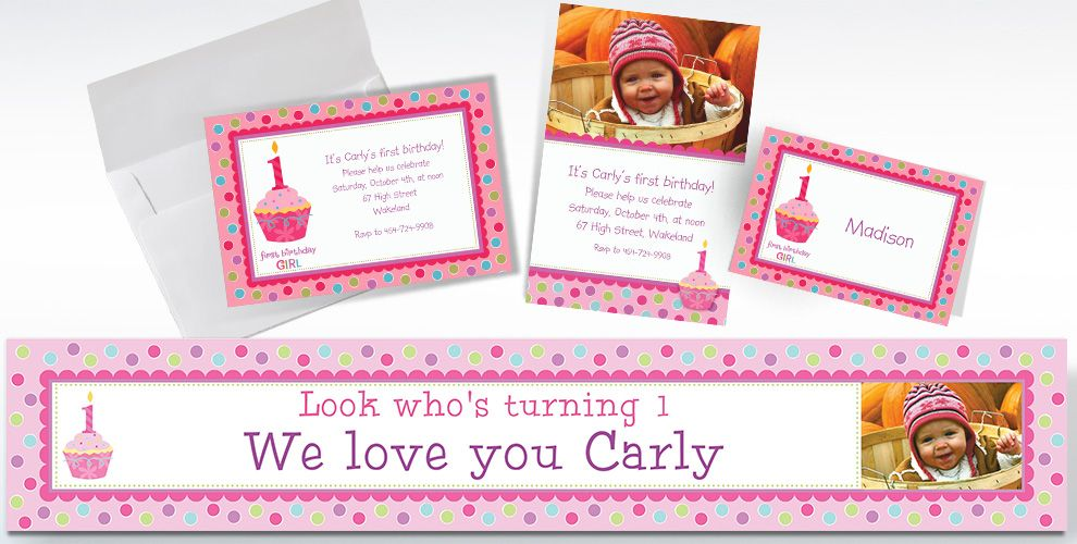 Custom Sweet Little Cupcake Girl 1st Birthday Invitations and Thank You Notes
