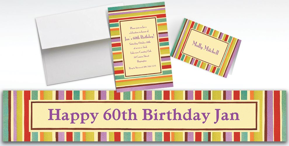 Custom Crafty Stripe Invitations and Thank You Notes