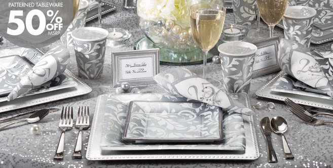Silver 25th Anniversary Party Wedding Supplies