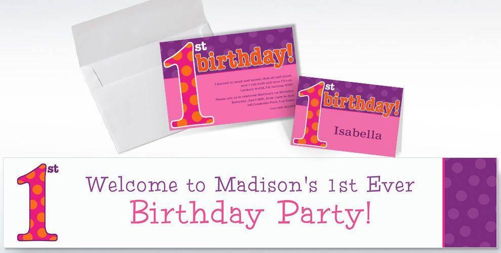 Custom Big 1st Birthday Pink Invitations and Thank You Notes