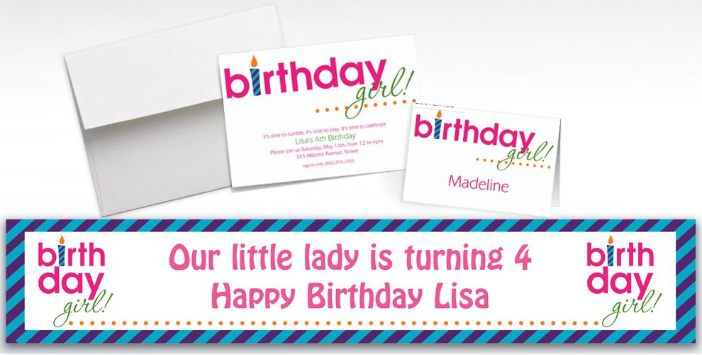 Custom Birthday Girl Text Invitations and Thank You Notes