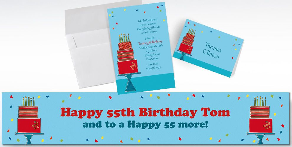 Custom Fetching Birthday Cake Invitations and Thank You Notes