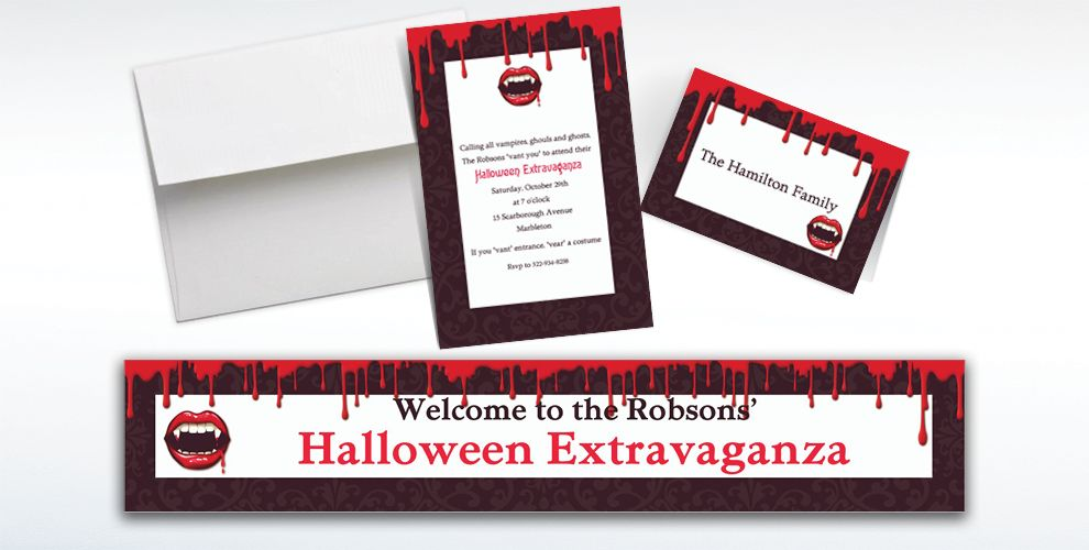 Custom Fangtastic Halloween Invitations and Thank You Notes