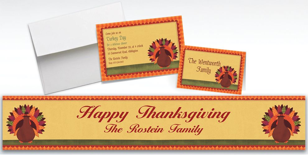 Custom Turkey Dinner Invitations and Thank You Notes