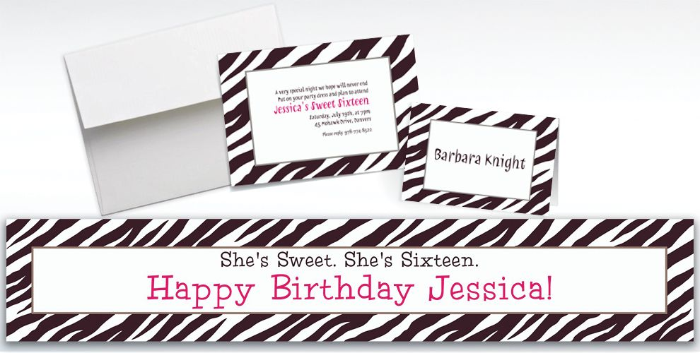 Custom Zebra Invitations and Thank You Notes