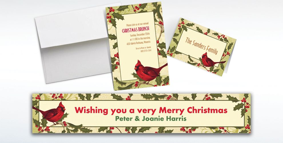 Custom Holiday Tidings Invitations and Thank You Notes