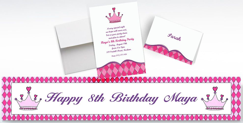 Custom Birthday Princess Crown Invitations, Thank You Notes and Banners