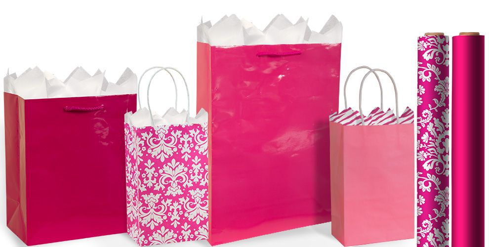 Bright pink gift bags gift wrap party city bright pink gift bags and wrap negle Gallery