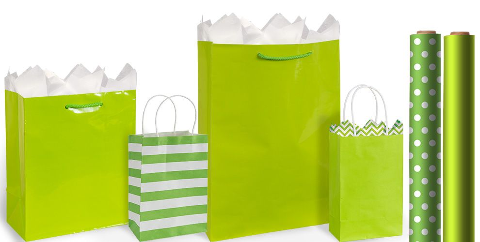 Green Gift Bags and Wrap