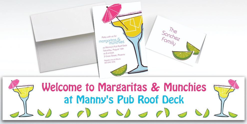 Custom Summertime Margarita Invitations and Thank You Notes