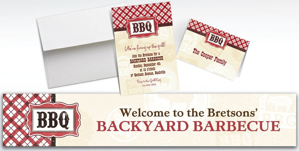 Custom It's BBQ Time Summer Invitations and Thank You Notes