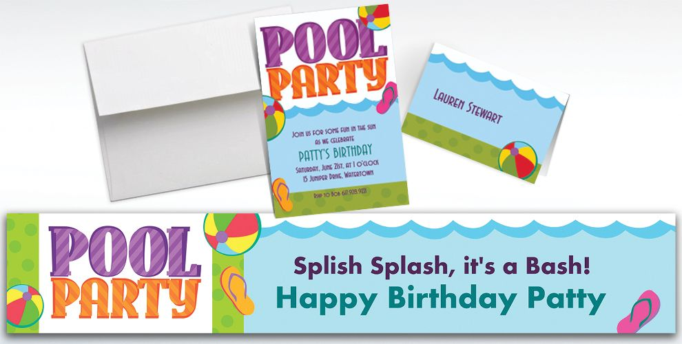Custom pool party invitations thank you notes party city custom pool party invitations and thank you notes stopboris Images
