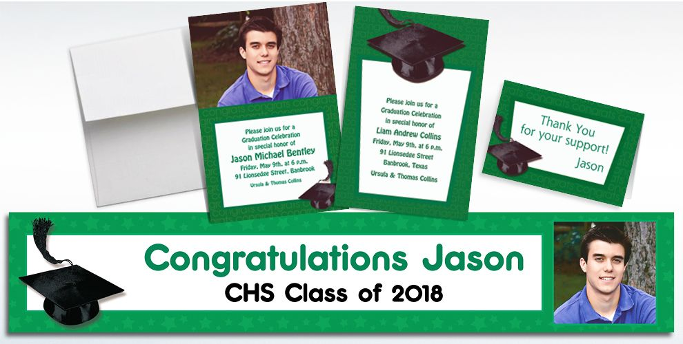 Custom Green Graduation Invitations and Thank You Notes