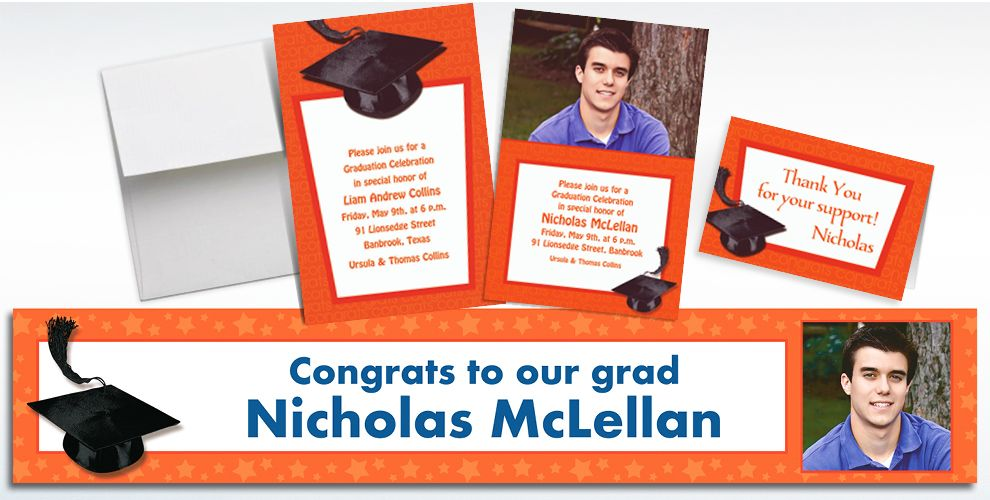Custom Orange Graduation Invitations and Thank You Notes